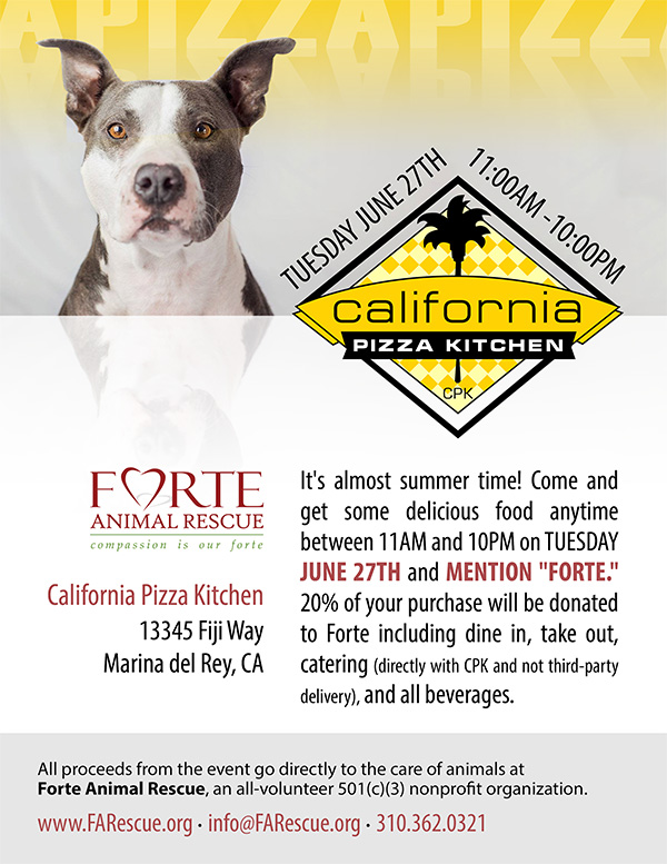 California Pizza Kitchen Fundraiser - Tuesday June 27, 2017