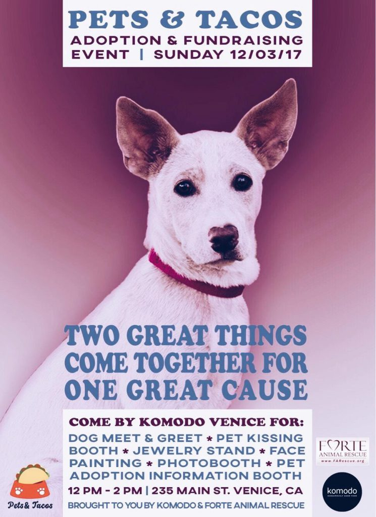 Pets tacos fundraiser sunday december 3rd from 12 to 2 pm pet adoption information booth sunday december 3rd from 12 to 2 pm komodo venice 235 main st venice ca m4hsunfo