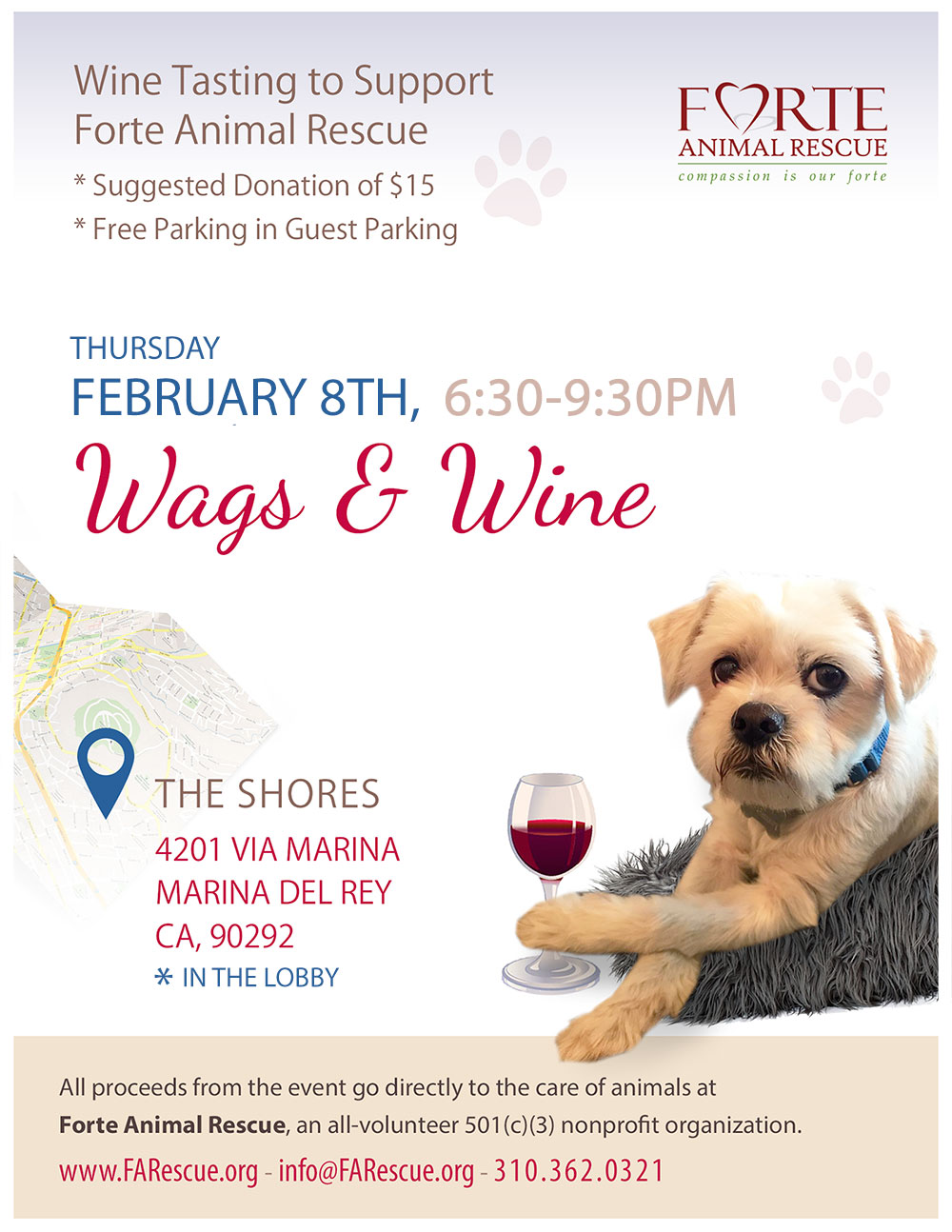 Wags & Wine Tasting to Support Forte Animal Rescue